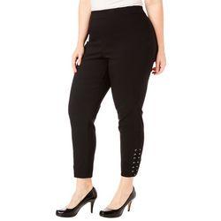 Zac & Rachel Plus Solid Lace Up Ankle Pants