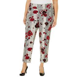 Zac & Rachel Plus Floral Houndstooth Pull On Crop Pants