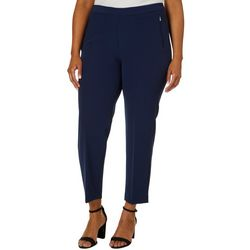 Zac & Rachel Plus Solid Bond Zipper Pocket Ankle Pants