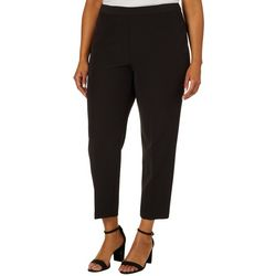 Zac & Rachel Plus Solid Pull On Bond Ankle Pants
