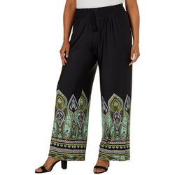 Zac & Rachel Plus Paisley Bordered Wide Leg Pants