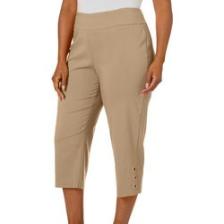 Zac & Rachel Plus Solid Grommet Ring Hem Pull On Capris