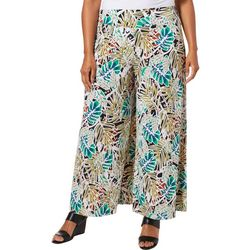 Coco Bianco Plus Tropical Palm Print Gaucho Pants