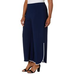 Coco Bianco Plus Solid Contrast Trim Pants