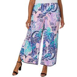 Coco Bianco Plus Paisley Print Gaucho Pants