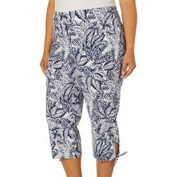 Counterparts Plus Tropical Palm Leaf Tie Hem Capris