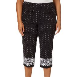 Counterparts Plus Dot Print Floral Border Pull On Capris