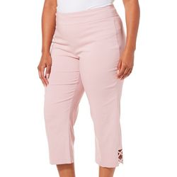 Counterparts Plus Solid Cross Detail Hem Capris