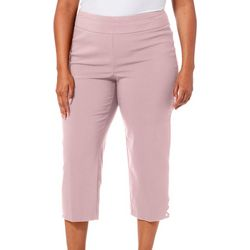 Counterparts Plus Solid Pull On Rivet Hem Capris