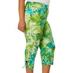 Counterparts Plus Tropical Leaf Tie Hem Capris