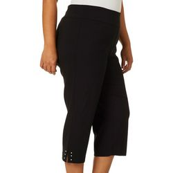 Counterparts Plus Faux Pearl Rivet Hem Crop Pull On Pants