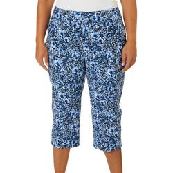 Counterparts Plus Blue Floral Print Pull On Capris