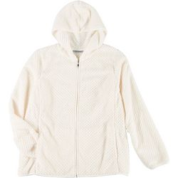 Jason Maxwell Womens Plus Solid Dot Zip Up Hooded Jacket