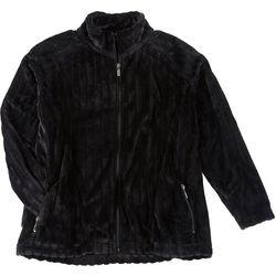 Jason Maxwell Womens Plus Solid Rippled Zip Up Jacket