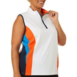 Ruby Road Golf Plus Colorblock Sleeveless Polo Shirt