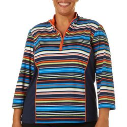 Plus Stripe Colorblock Polo Shirt