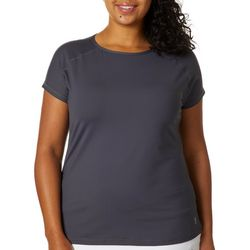Sofibella Plus Solid Knit Short Sleeve Active Top