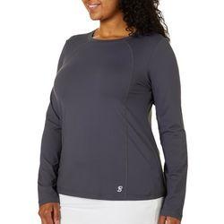 Sofibella Plus Solid Knit Long Sleeve Active Top