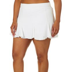 Sofibella Plus Solid Knit Ruffle Trim Pull On Court Skort