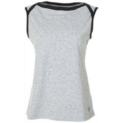 Sofibella Plus Heathered Sleeveless Boat Neck Active Top