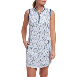 Pebble Beach Plus Dotted Sleeveless Pocket Dress