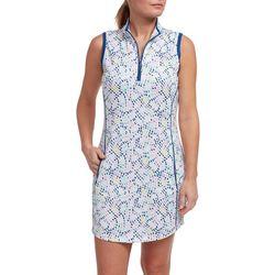 Pebble Beach Plus Dotted Sleeveless Pocket Dress