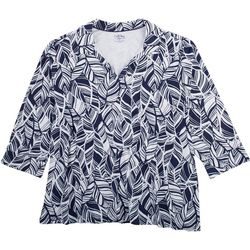 Coral Bay Plus All-Over Leaf Johnny Collar Top