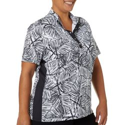 Coral Bay Golf Plus Night Fronds Short Sleeve Top