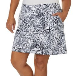 Coral Bay Golf Plus Palm Leaf Print Pull On Skort