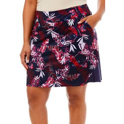 Plus Tropical Print Flared Pull On Skort