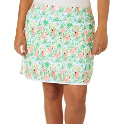 Coral Bay Golf Plus Flamingo Paradise Tulip Hem Skort