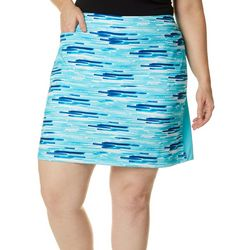 Coral Bay Golf Plus Graphic Stripe Print Pull On Skort