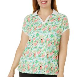 Plus Flamingo Paradise Polo Shirt