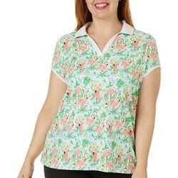 Plus Flamingo Paradise Polo Shirt