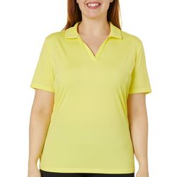 Plus Solid V-Neck Polo Shirt