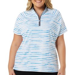 Coral Bay Golf Plus Watercolor Stripe Polo Shirt