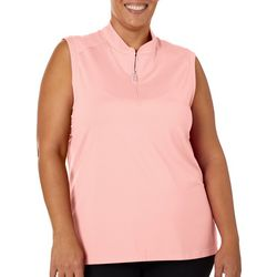 Coral Bay Golf Plus Solid Sleeveless Polo Shirt