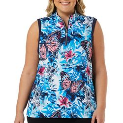 Coral Bay Golf Plus Colorful Butterfly Sleeveless Polo Shirt