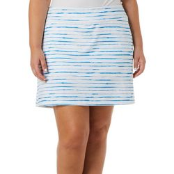 Plus Watercolor Stripe Print Pull On Skort