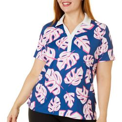 Plus Tropical Leaves Short Sleeve Polo Shirt