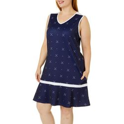 Plus Ditsy Golf Clubs Sleeveless Golf Dress