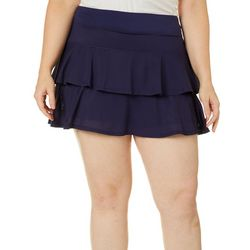 Lillie Green Plus Tiered Mesh Overlay Pull On Skort