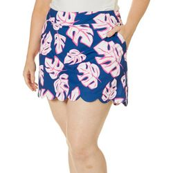 Lillie Green Plus Palm Print Pull On Skort