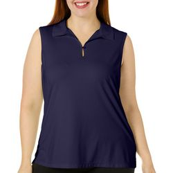 Lillie Green Plus Keyhole Sleeveless Back Mesh Polo Shirt