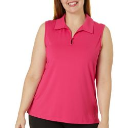 Plus Keyhole Sleeveless Back Mesh Polo Shirt