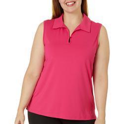 Plus Keyhole Sleeveless Back Mesh Polo Shirt