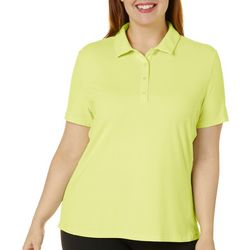 Plus Solid Short Sleeve Polo Shirt