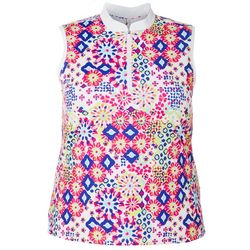 Plus Muted Geo Sleeveless Polo Shirt