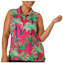 Lillie Green Plus Swaying Palm Trees Sleeveless Polo Shirt