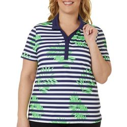 Lillie Green Plus Leaves & Stripes Short Sleeve Polo Shirt